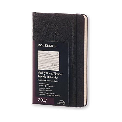 Moleskine Pocket Agenda Settimanale Orizzontale, 12 Mesi, Copertina Rigida, Nero