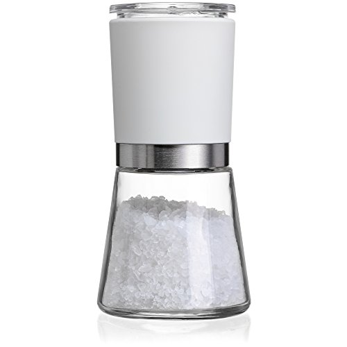 CHEFVANTAGE Sea Salt Grinder and Pepper Mill with Adjustable Ceramic Coarseness Dial - White