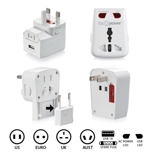 FosPower® FUSE World-Wide Universal AC International Adapter Travel Charger with [1.0A] USB Charging Port (US UK EU AU) - White