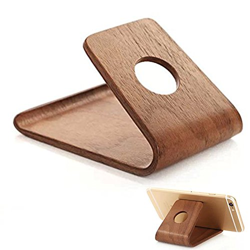 NEXTANY Mobile Cell Phone Stand Wood - Best Holder For iPhone 6,iPhone 6 Plus, Samsung Galaxy, Android, Nexus, Lumia, HTC, OnePlus, Or Fire - Frees Up Your Hands To Watch Movies Or View Photos