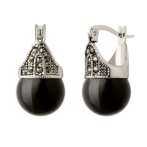 Jet Black Jade and Hematite Earrings