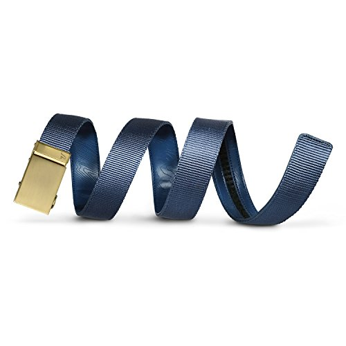 Mission Belt Men's Ratchet Belt - 40mm Gold Buckle / Blue Nylon Strap, Small (28 - 32)