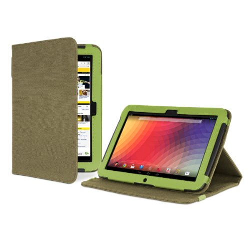 Cover-Up Google Nexus 10 Tablet Version Stand Natural Hemp Case with Sleep / Wake function - (Khaki Green)