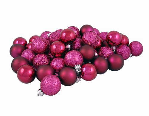 60ct Red Raspberry Shatterproof 4-Finish Christmas Ball Ornaments 2.5 (60mm)