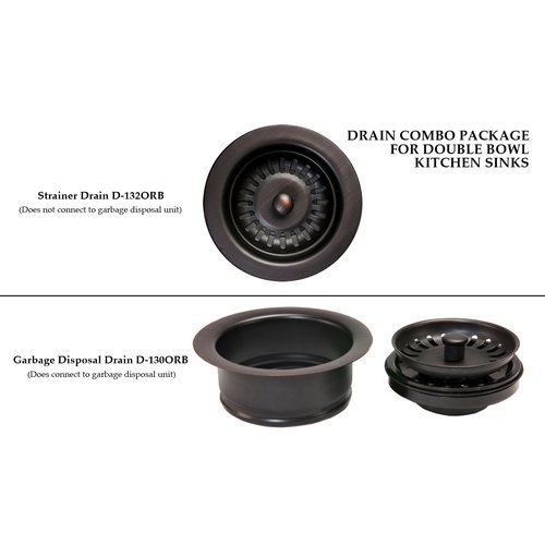 Premier Copper Products DC-1ORB Drain Combination Package for Double Bowl Kitche,