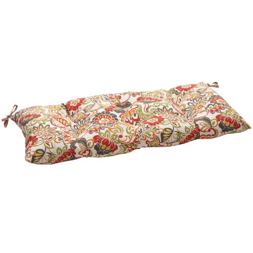 Pillow Perfect Indoor/Outdoor Multicolored Modern Floral Tufted Loveseat Cushion