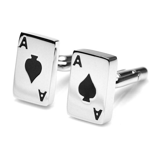 Pensee Classic Stainless Steel Poker Ace Cufflinks for Men with Gift Box