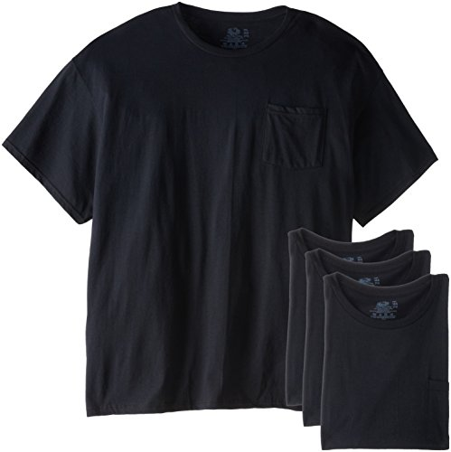 Fruit of the Loom Men's  Big and Tall Size Pocket Tees, Black, XXX-Large(Pack of 4)