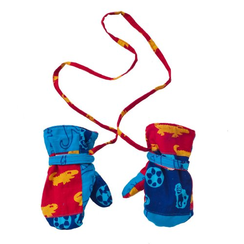 Back From Bali Baby Toddler Boy Mittens with String Micro Fleece Fun Prints