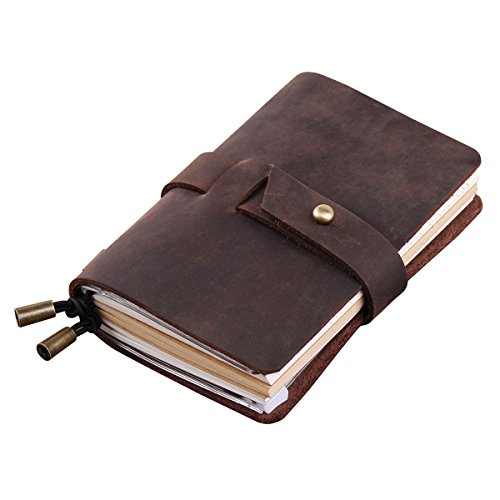 Robrasim Vintage Handmade Refillable Leather Travelers Journals Diary Notebook Notepad for Men Women Diary - Passport Size 13x10cm - Coffee