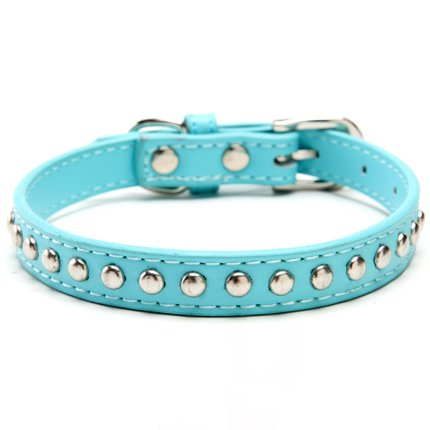 BingPet BA2006 Real Split Leather Studded Pet Dog Collar , Blue Small