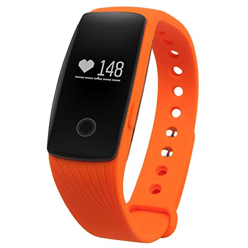 GearBest Sports Smart Bracelet with Heart Rate Monitor Remote Camera Water-resistant (Orange)