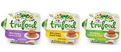 Wellness TruFood Living Nutrition Grain Free Tasty Pairings Healthy Food For Cats 3 Flavor Variety 6 Can Bundle: (2) TruFood Chicken, Pumpkin & Turkey, (2) TruFood Carrots, Tuna & Turkey, and (2) TruFood Chicken, Carrots & Crab, 3 Oz. Ea. (6 Cans Total)