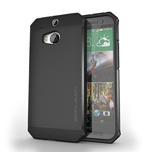 HTC One (M8) Slim Case,ZeroLemon HTC One (M8) Razor Armor Dual Layer Protective Case(Fits All Versions of HTC One (M8))[180 days ZeroLemon Warranty Guarantee]-Matte Black