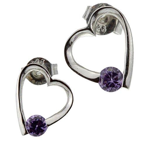 Heart Purple Amethyst Rhinestone Crystal Nickel Free Sterling Silver Earring for Women Teen Girl Birthday