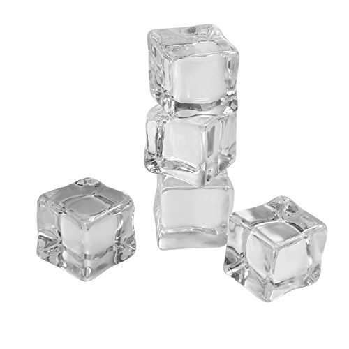 Landisun 32 Counts/Pack Fake Artificial Acrylic Ice Cubes Crystal Clear 1 inch Square