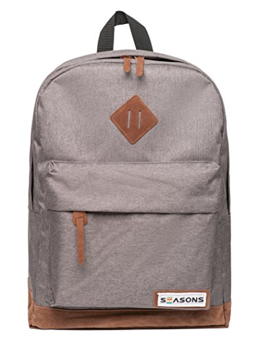 Seasons College Backpack -Travel School Laptop Bag -Men Girls Teens -Small, Gray