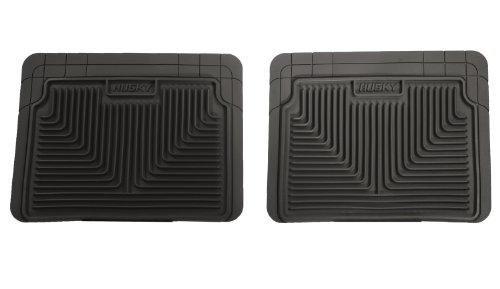 Husky Liners 52021 Semi-Custom Fit Heavy Duty Rubber Rear Floor Mat - Pack of 2, Black