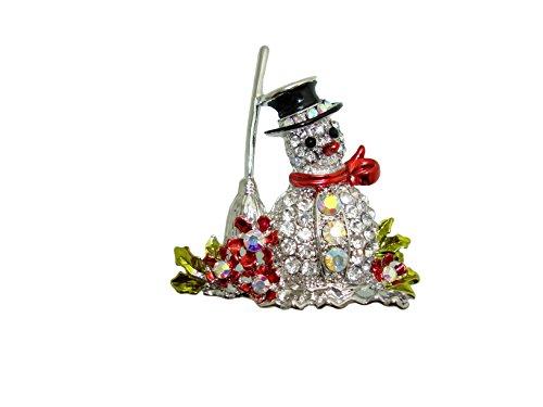 TTjewelry Christmas Fashion Snowman Besom Flower Brooch Pin Clear Austria Crystal