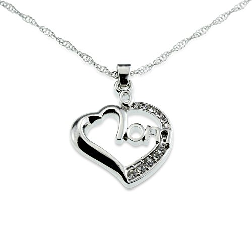 Mom Heart Love Silver and Crystal Pendant I Love You Necklace Beautiful Birthday Anniversary Jewelry Gift