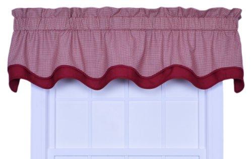 Logan Gingham Check Print Bradford Valance Window Curtain, Red
