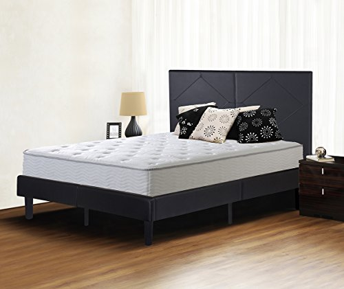 Olee Sleep Faux Leather Wood Slate Folding Platform Bed Frame Diamond Queen 14PB01Q