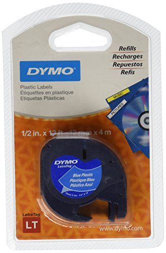 DYMO 91335 LetraTag Self-Adhesive Multi-Purpose Label Tape, 1/2-inch, Ultra-Blue, 13-foot Cassette