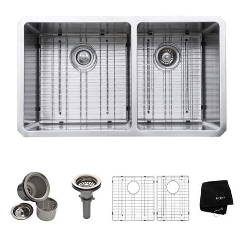 Kraus KHU103-33 32-3/4 Double Basin 16 Gauge Stainless Steel Kitchen Sink for U,