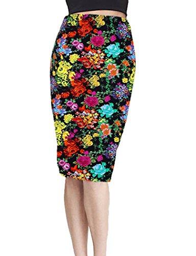 BCBM Women Sexy Floral Pencil Skirt Below Knee Office Wear Scuba Stretchy Dress