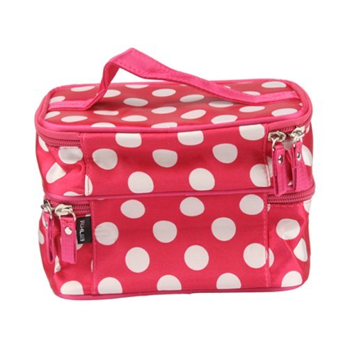 niceEshop(TM) Unique Dots Pattern Double Layer Cosmetic Bag Rose Red (7.48 X 4.65 X 5.31)