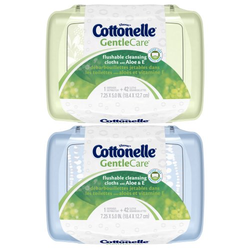 Cottonelle Gentle Care Flushable Cleansing Cloths with Aloe and Vitamin E Tub, 42 Count (Pack of 8)