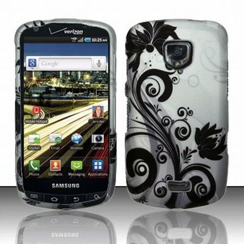 Samsung Droid Charge 4G Accessory - Silver Black Vines Protective Hard Rubberized Case Cover for Verizon