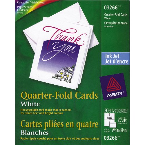 Avery Quarter-Fold Printable Cards, 4 1/4-Inch x 5 1/2-Inch, White, Pack of 20 (3266)