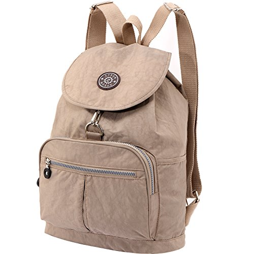 ZYSUN Women's Fashion Nylon Bags Durable Packable Daypack Washable Light Weight Casual Travel Backpack(604,nude)
