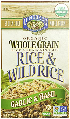 Lundberg Organic Whole Grain and Wild Rice, Garlic and Basil, 6 Ounce (Pack of 6)