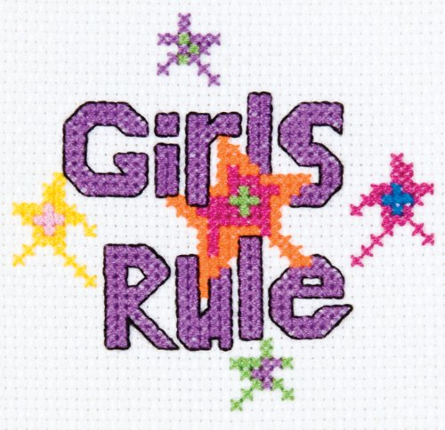 Bucilla Girls Rule Mini Counted Cross Stitch Kit, 45445 3 by 3-Inch