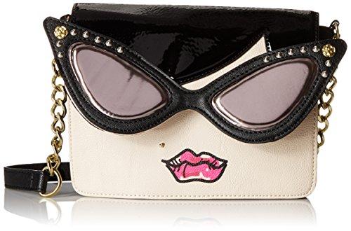 Betsey Johnson Lady Face Cross Body Bag, Cream, One Size