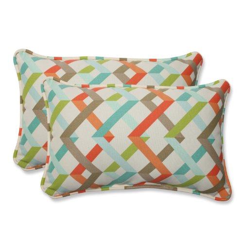 Pillow Perfect Rectangular Outdoor Parallel Play Caribbean Throw Pillow, Set of 2