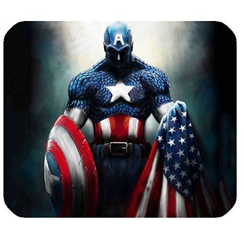 American Hero Drawing for Rectangle Computer Game Mouse Pad Mat Cloth Cover Non-slip Backing