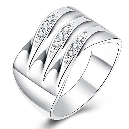 Fashion Boutique 925 Silver plated Art Zircon Ring Wedding Band Engagement Jewelry 7