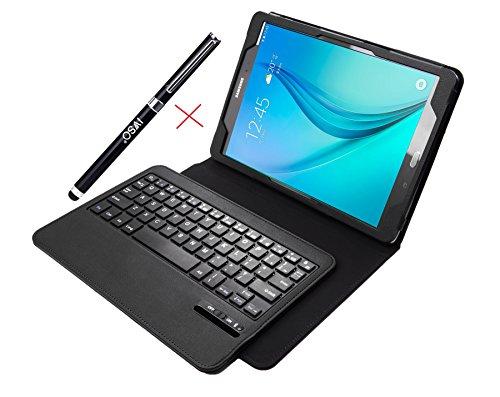 IVSO Samsung Galaxy Tab E 9.6 Keyboard case Ultra-Thin Bluetooth Keyboard Portfolio Case - DETACHABLE Bluetooth Keyboard Stand Case / Cover for Samsung Galaxy Tab E 9.6 Tablet (Black)