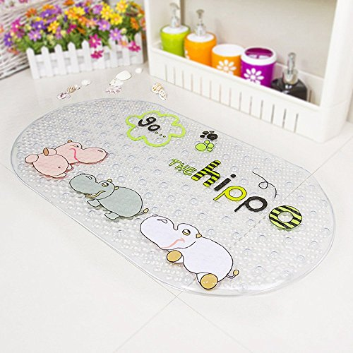 Baby Bath Mat AnGeer Non-Slip Cartoon hippo Environmental PVC Pad with Suction Cups for Kids (Transparent) ¡