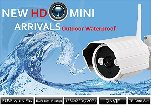 SUNLUXY 720P WiFi Waterproof IR Night Vision Network IP Camera 8GB SD Card