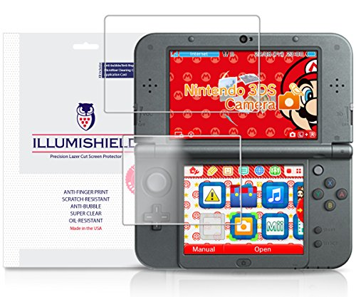 iLLumiShield - New Nintendo 3DS XL Screen Protector (2015) with Lifetime Replacement Warranty - Japanese Ultra Clear HD Film with Anti-Bubble and Anti-Fingerprint - High Quality (Invisible) LCD Shield - [3-Pack] OEM / Retail Packaging Compatilble with: Nintendo 3DS LL Japanese Version