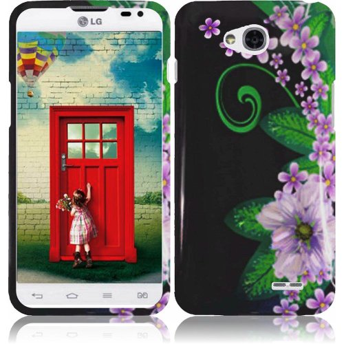 Cell Accessories For Less (TM) For LG Realm Exceed 2 Ultimate 2 L70 LS620 VS450 L41C Design Cover Case - Green Flower + Bundle (Stylus & Micro Cleaning Cloth) - By TheTargetBuys