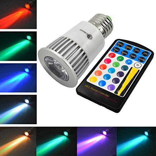 LONOVE® Memory Function Color Changing RGB LED Flash Spot Light 5W E27 28 key Remote