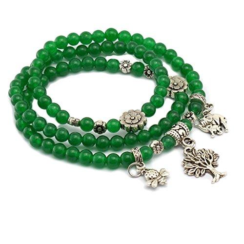 Cat Eye Jewels 2in1 Tibetan Silver Life Tree Elephant Bee Charm Birthstone Bracelet Necklace Fashion