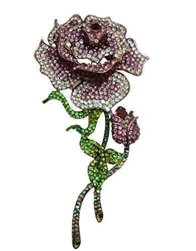 TTjewelry Vintage Fashion Purple Rose Rhinestone Crystal Flower Bud Brooch Pin