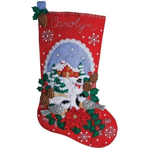 Bucilla 18-Inch Christmas Stocking Felt Applique Kit, Chickadees