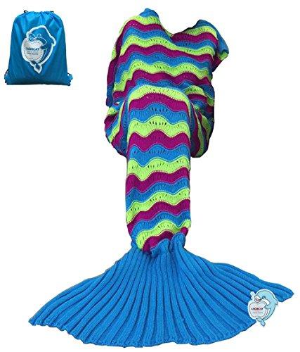 LAGHCAT Mermaid Tail Blanket Knit Crochet and Mermaid Blanket for Adult,Sleeping Blanket (71x35.5, Wave multi)